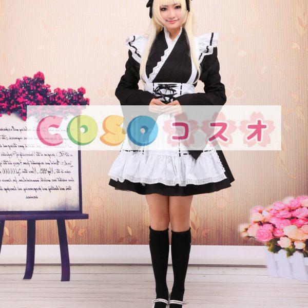 コットン ロリィタワンピース 白いエプロン 長袖 レースアップ ―Lolita0102 1