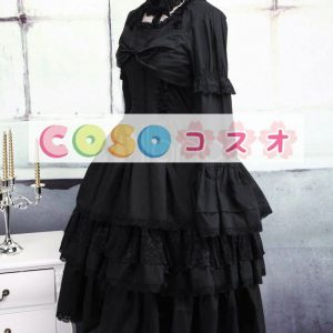 ロリータワンピース ブラック 姫袖 ティアド ロングスリーブ クラシック&トラディション  ―Lolita0119