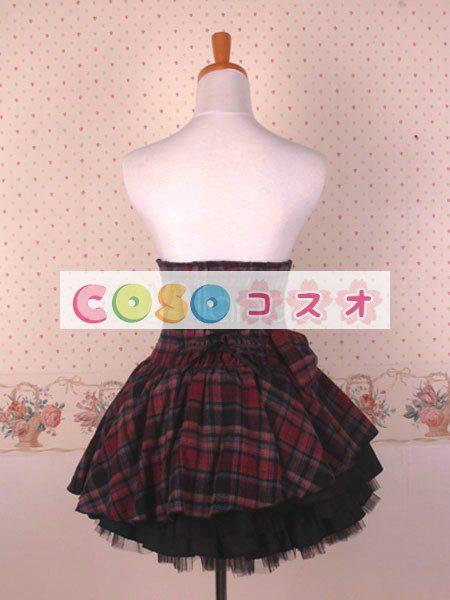 ギンガム ハイウェスト ロリィタスカート サロペットスカート ボタン リボン フリル―Lolita0137 1