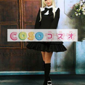 ブラック ロリィタワンピース 長袖 フリル リボン コットン ―Lolita0138