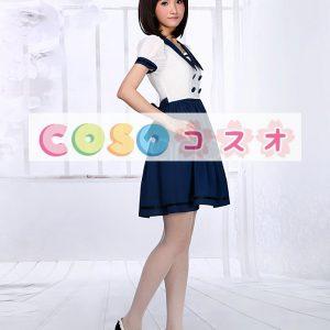 ホワイト&ネイビーブルー ロリィタワンピース セーラー 半袖 ―Lolita0153