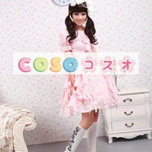 ロリィタワンピース 半袖 ピンク フリル スウィート ―Lolita0155