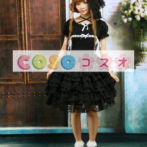 ブラック ロリィタワンピース 半袖 フリル レーストリム ―Lolita0161