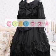 ゴシック ロリィタワンピース ブラック 長袖 レーストリム フリル コットン ―Lolita0163