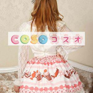 スウィート ピンク ロリィタスカート ショット レーストリム ケーキプリント ―Lolita0216