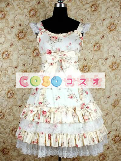かわいいノースリーブ コットン ベージュ ロリータ ドレス ―Lolita0243 1