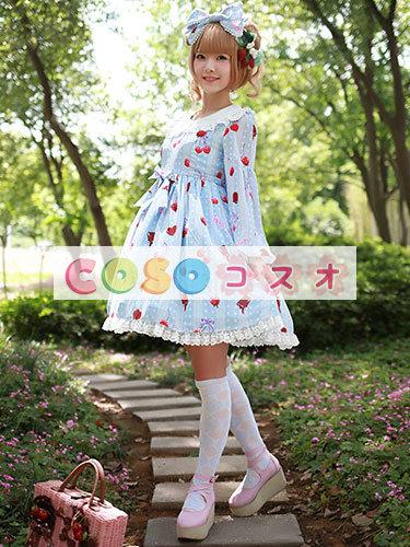 かわいい長袖弓シフォン ロリータ ワンピース ―Lolita0245 1