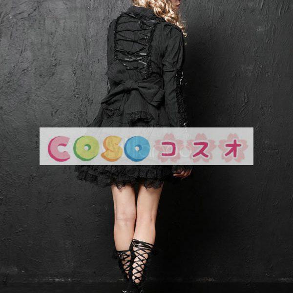 長袖ワンピース 姫袖 レーストリム リボン 無地 レースアップ ロリィタワンピース ―Lolita0264 1