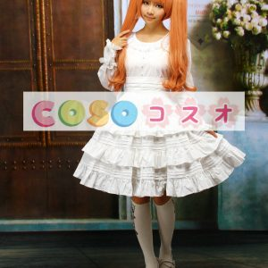 ホワイト ロリィタワンピース フリル 長袖 コットン ―Lolita0273