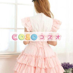 ピンク コットン ワンピース ロリィタワンピース フリル レースアップ ―Lolita0374