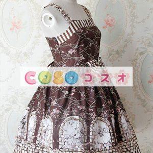 甘い茶色の綿ジャンパー スカートを弓します。 ―Lolita0435