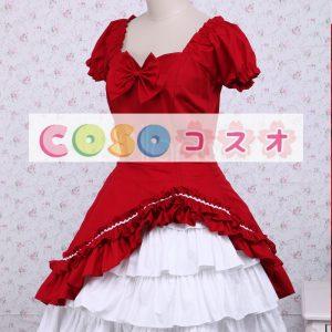 ロリィタワンピース レッド ホワイトフリル 半袖 ―Lolita0492