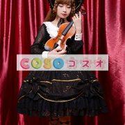 女性のための黒弓シフォン カントリーロリータ ドレス ―Lolita0601