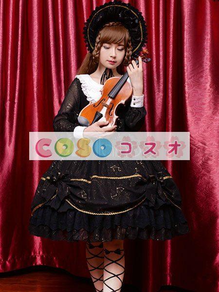 女性のための黒弓シフォン カントリーロリータ ドレス ―Lolita0601 1