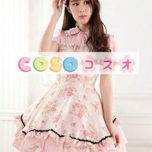 甘いピンクのレース バラ プリント ジャンパー スカート ―Lolita0613
