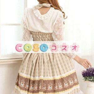 甘い光ブラウン スクエア ネック弓かわいいロリータ ジャンパー スカート ―Lolita0631