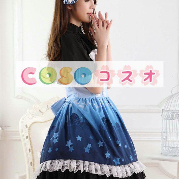オンブル ブルー スター プリント レースかわいいロリータ ドレス ―Lolita0658 1