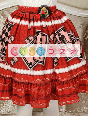 エレガントな赤レース ゴスロリ スカートを印刷 ―Lolita0679 1