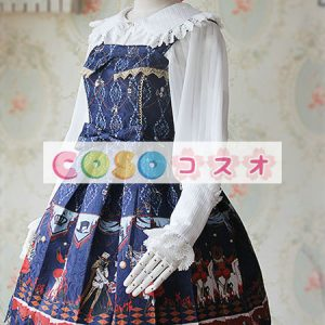 ロリータ服 合成繊維 可愛い パーティー プリント付き 人気  ―Lolita0804