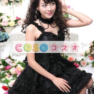 ロリィタ服 チュニックワンピース 合成繊維 レトロ ブラック パーティー  ―Lolita0812