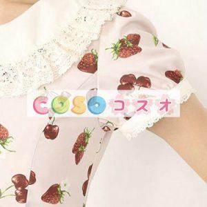 ロリィタワンピース 可愛い 半袖 カジュアル ピーターパンカラー プリント付き  ―Lolita0838