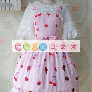 陽気なプリントとレース トリム甘いロリータ ジャンパー ドレス ―Lolita0849