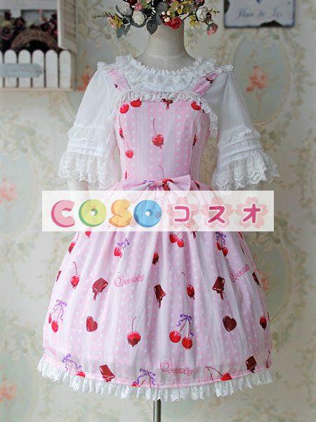 陽気なプリントとレース トリム甘いロリータ ジャンパー ドレス ―Lolita0849 1