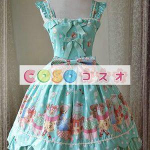 スウィート コットン ロリィタジャンパースカート ベアプリント リボン フリル  ―Lolita0851