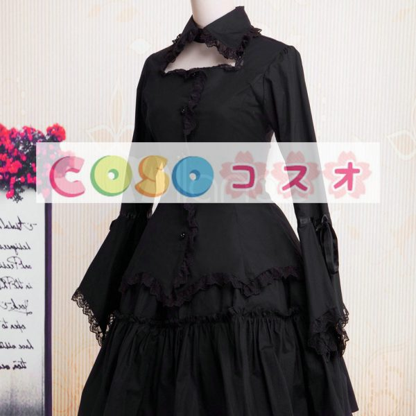 コットン ロリィタワンピース レーストリム 長袖 ブラック  ―Lolita0852 1