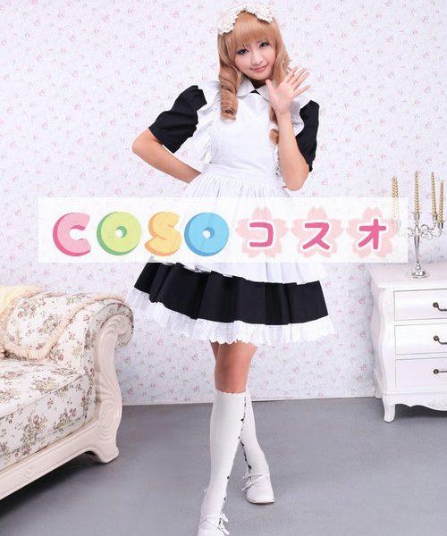 コットンワンピース ロリィタワンピース メイド 白いエプロン 半袖 ―Lolita0892 1