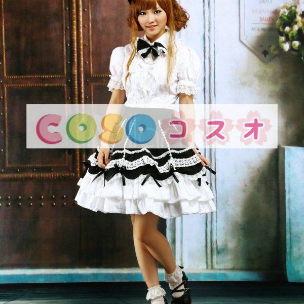 ロリィタ服 セットアップ ホワイト&ブラック フリル レーストリム ―Lolita0899 1