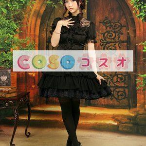ロリータセパレート,ブラック ティアド ショートスリーブ ゴシック シャツ  ―Lolita0906