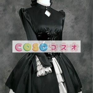 ロリィタ服 セット 長袖 ゴシック 合成繊維 パーティー フリル ポートレイトネック ―Lolita0926