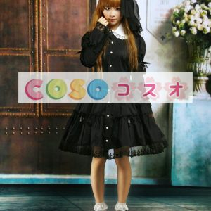ブラック ロリィタワンピース コットン 長袖 ラウンドカラー レーストリム ―Lolita0051