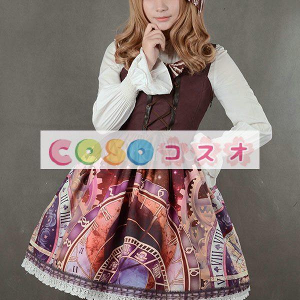紫のロリータ ドレス ストラップ プリント シフォン ドレス ―Lolita0791 1
