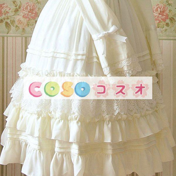 女性の白いフリルの付いたシフォン カントリーロリータ ドレス ―Lolita0081 1