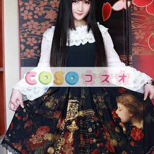 黒プリント シフォン ジャンパー スカート ―Lolita0789