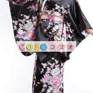 ハロウィングッズ ジャパニーズ 女性用 大人用 着物 ブラック―festival-0011