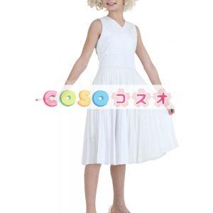 キッズ ハロウィン コスチューム 女の子用 映画 ドレス ホワイト ―festival-0357