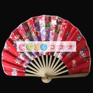 頭飾り 扇子 レッド 竹 入浴 日本 ジャパニーズ―festival-0143