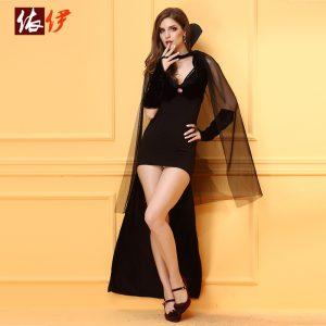 魔女 ハロウィン 魔法使い セクシー コスチューム レースアップ 合成繊維 女性用-halloween-trz0725-0313