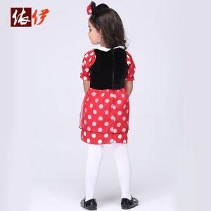 コスチューム衣装 ミッキーマウス Mickey Mouse レッド ドレス 女の子用-halloween-trz0725-0315