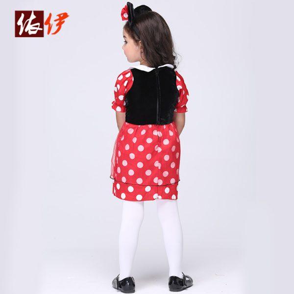 コスチューム衣装 ミッキーマウス Mickey Mouse レッド ドレス 女の子用-halloween-trz0725-0315 1