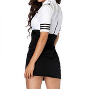 白黒 客室乗務員 制服 セクシー 警察 コスプレ スカート-Halloween-trw0725-0010