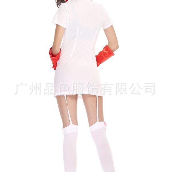 Nurse Costumes ナイトクラブ コスプレ衣装 ナース服 セクシー 白  看護師 白衣-Halloween-trw0725-0087 1