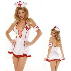 ナース服 Nurse Costume ナイトクラブ コスプレ衣装 セクシー 白 看護婦 医者 ハロウィン-Halloween-trw0725-0107
