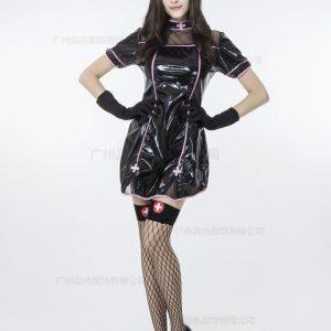 コスプレ ナース ナース服 ピンク 黒衣 医者 セクシー 血 ゾンビ ハロウィン -Halloween-trw0725-0110