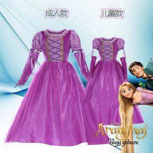 アナと雪の女王 エルサ 大人用 子供用ドレス レディス 女性用 コスプレ ドレス Disney-Halloween-trw0725-0124