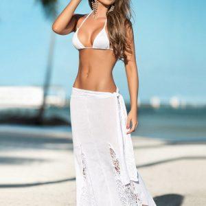 ホワイト スプリット ファッション セクシー ビーチウェア セット Beachwear-Halloween-trw0725-0135