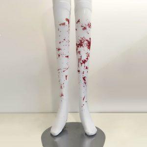 Music Legs ゾンビコスチューム用のストッキング 血のり ニーハイソックス 赤色の血のついた柄のゾンビの ホラー ハロウィン 衣装 仮装 グッズ パーティーグ-Halloween-trw0725-0187